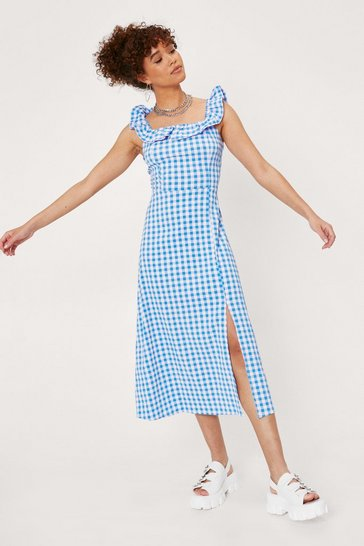 Cobalt Ruffle Gingham Print Split Hem Midi Dress