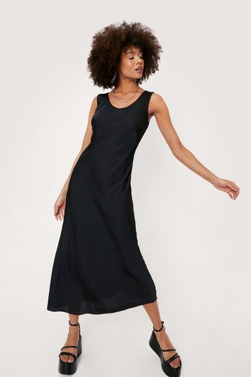 Black Scoop Neck Satin Slip Midi Dress