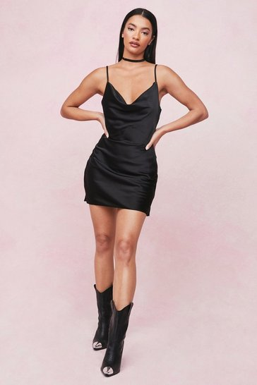 Black Choker Cowl Neck Satin Slip Mini Dress