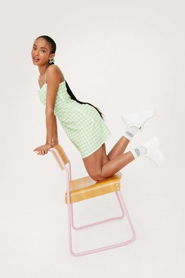 Apple green Gingham Print Mini Dress and Scrunchie Set