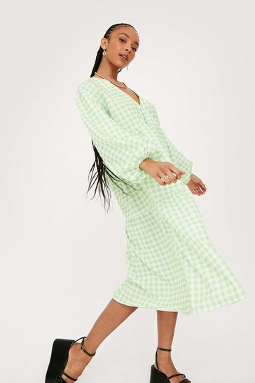Apple green Gingham Print V Neck Puff Sleeve Midi Dress