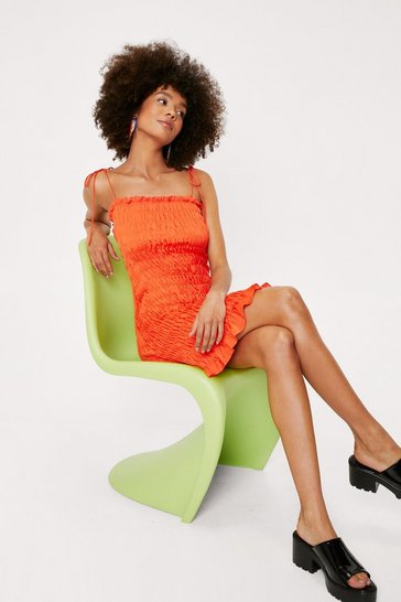 Orange Shirred Tie Shoulder Strappy Mini Dress