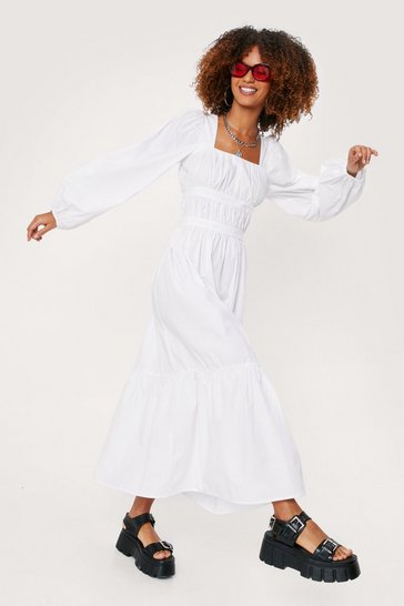 White Square Neck Poplin Tiered Maxi Dress