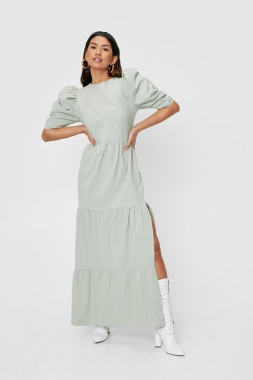 Sage Linen Look Puff Sleeve Tiered Maxi Dress