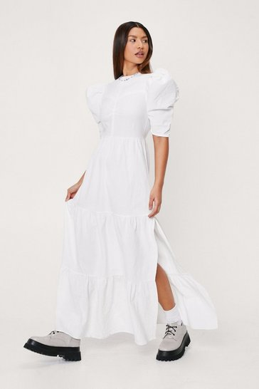 White Linen Look Puff Sleeve Tiered Maxi Dress