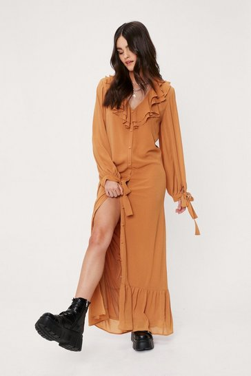Tobacco Chiffon Ruffle V Neck Maxi Dress