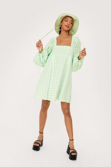Apple green Gingham Square Neck Smock Dress