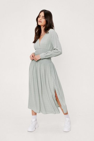 Sage Check Design Shirred Panel Midi Tea Dress