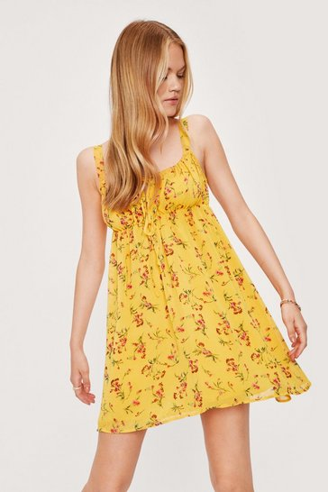 Yellow Shirred Floral Square Neck Mini Dress