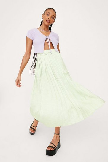 Lime High Waisted Pleated Satin Midi Skirt
