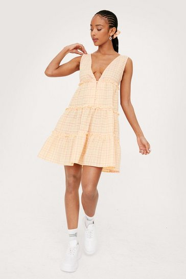 Apricot V Neck Check Dress and Scrunchie Set