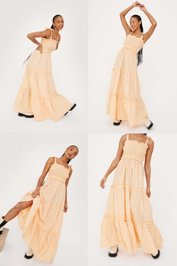 Apricot Shirred Woven Check Tiered Maxi Dress
