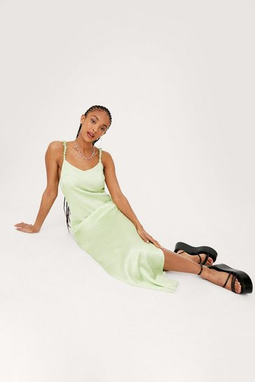 Apple green Satin V Neck Split Hem Maxi Dress