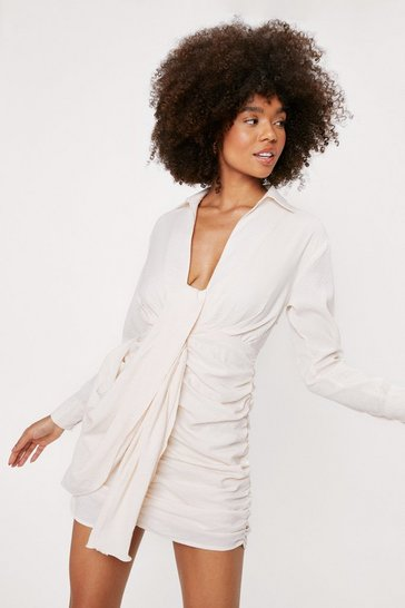 Ecru Textured Stripe Draped Shirt Mini Dress