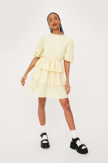 Lemon Textured Crew Neck Tiered Mini Dress