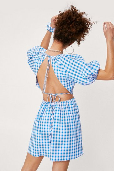 Cobalt Gingham Print Mini Dress and Scrunchie Set