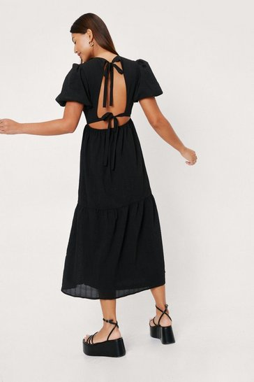 Black Linen Look Open Tie Back Midi Dress