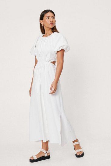 White Linen Look Open Tie Back Midi Dress