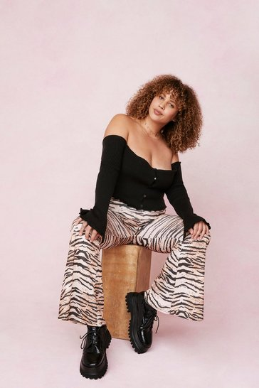 Brown Plus Size Tiger High Waisted Flares