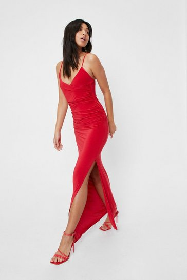 Red Slinky V Neck Wrap Split Hem Maxi Dress