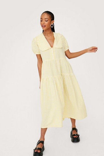 Lemon Gingham Print Collar Tiered Ruffle Midi Dress