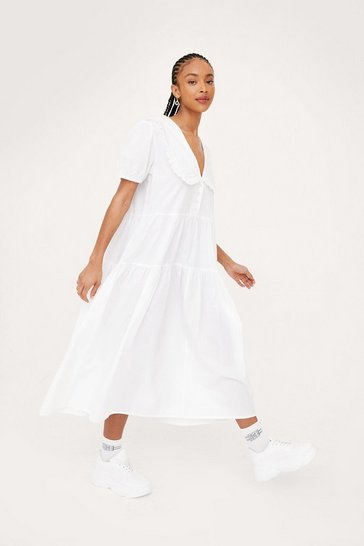 White Gingham Print Collar Tiered Ruffle Midi Dress