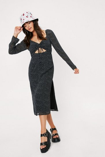 Black Spotty Print Cut Out Split Hem Midi Dress