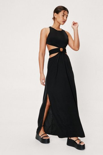 Black Belted Cut Out Detail Racer Neck Maxi Dress