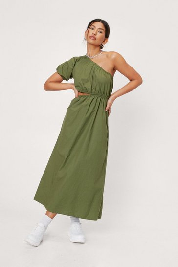 Olive Cut Out Detail One Shoulder Poplin Midi Dress