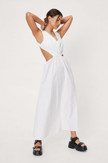White Cut Out Detail Poplin Midi Tea Dress