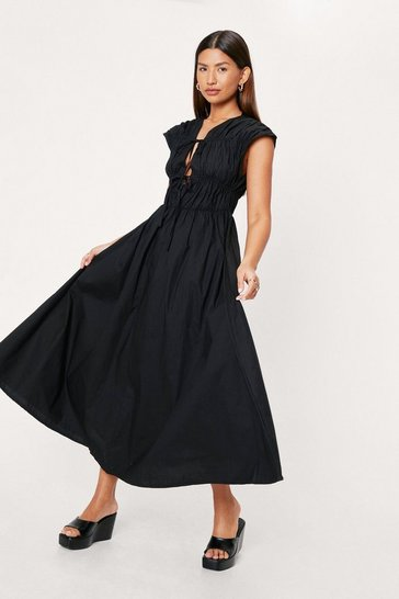 Black Shirred Tie Front Poplin Midi Tea Dress
