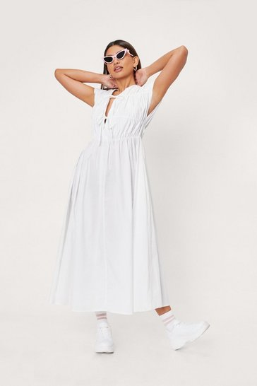 White Shirred Tie Front Poplin Midi Tea Dress