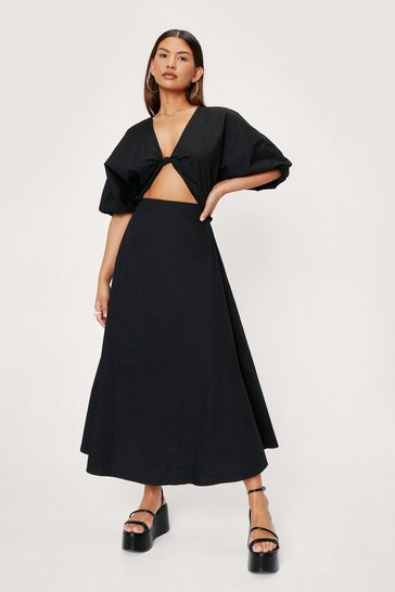 Black Knot Front Puff Sleeve Poplin Midi Tea Dress