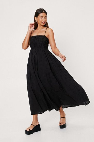 Black Star Embroidered Cross Back Maxi Dress