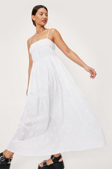 White Star Embroidered Cross Back Maxi Dress
