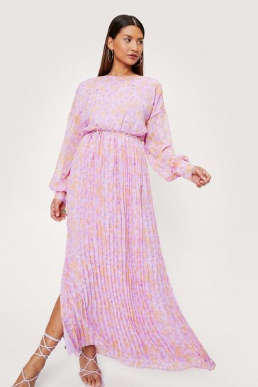 Pink Pleated Skirt Balloon Sleeve Floral Print Maxi Dress