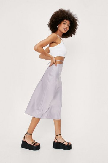 Grey Satin Cut Out Tie Waist Detail Midi Skirt