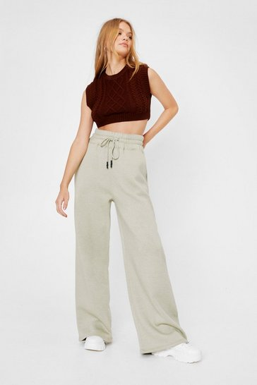 Sage Drawstring High Waisted Wide Leg Joggers