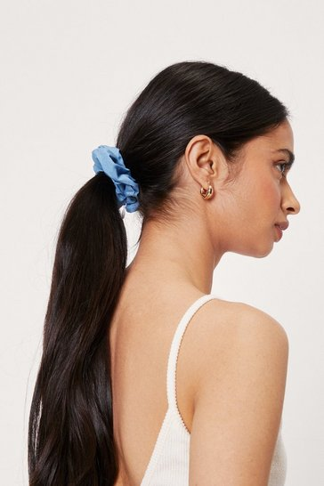 Denim-blue Denim 2 Pc Hair Scrunchie Set