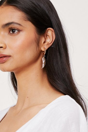 Gold Small Wing Drop Hoop Earrings