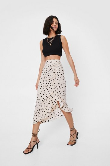 Beige High Waisted Spotty Ruched Midi Skirt
