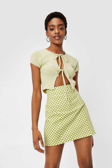 Apple green Checkerboard Print Split Hem Mini Skirt