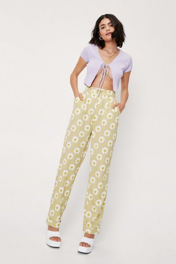 Sage Daisy Print High Waisted Straight Leg Pants