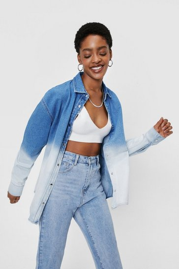 Mid blue Ombre Bleach Dye Oversized Denim Shirt