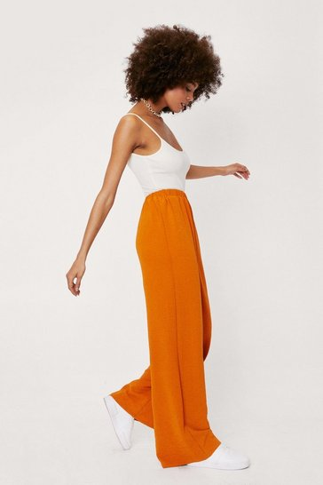 Burnt orange Textured High Waisted Relaxed Wide Leg Pants
