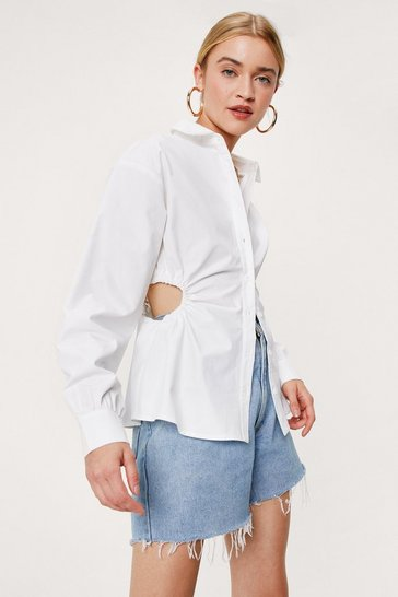 White Cut Out Button Down Long Sleeve Shirt