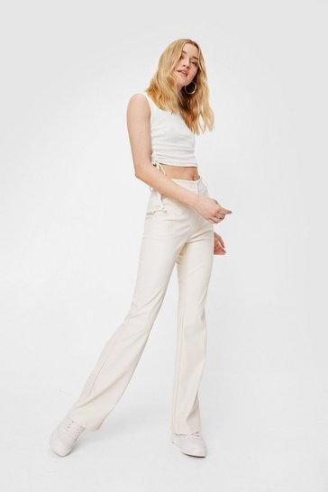 Beige Faux Leather High Waisted Flare Pants