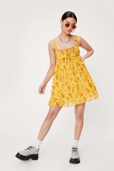 Yellow Petite Floral Ruched Detail Mini Dress