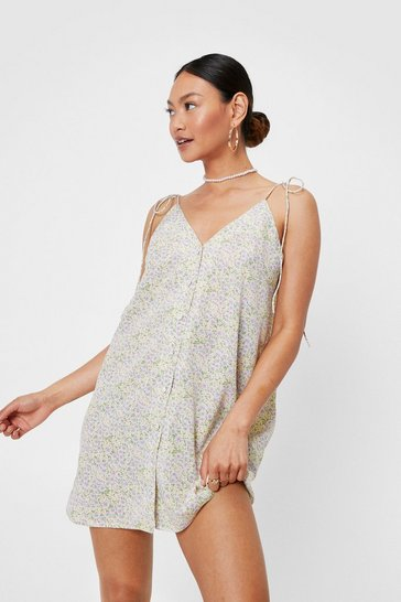 Lilac Petite Floral Print Button Down Cami Mini Dress