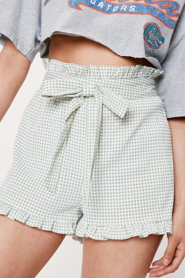 Sage Petite High Waisted Gingham Print Belted Shorts